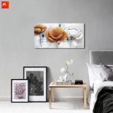 Detalla el arte de la pared de flores hechas a mano de pintura al óleo