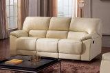 Quente-Vendendo o sofá manual de couro bege do Recliner da mobília moderna (HC011)