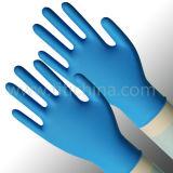 Выбитые перстом синие перчатки нитрила порошка свободно устранимые с Ce/ISO/FDA одобрили