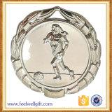 Medalhas chapeadas do futebol do futebol da liga do zinco prata por atacado