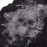 Punk Black Rivets Puff impressão colar de malha masculina casaco sem mangas (T-470)
