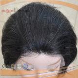 Tipo Weft peluca sin procesar de la parte posterior superior del grado del frente del cordón del pelo de Remy de la Virgen del ser humano del negro el 100%
