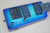 Hanhai Musik/blaue Arbeitsweg-Art-elektrische Gitarre mit Flamme-Ahornholz-Furnier-Blatt