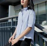 Camicia semplice delle signore del breve collo rotondo blu-chiaro del manicotto