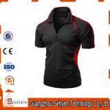 La mode d'usine de la Chine Sec-A ajusté le T-shirt noir élastique de polo pour les hommes