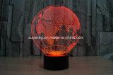 Globe 3D LED Illusion Night Light com lâmpada de mesa de 7 cores
