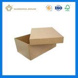 Rectángulo de regalo rígido de la cartulina del papel de Brown Kraft con la tapa (fabricante de China)
