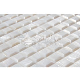 Telha chanfrada branca pura do mosaico da borda da pérola de água doce da matriz do escudo