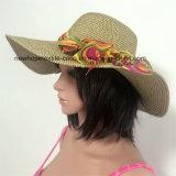 100% de papel Sombrero de paja, estilo flojo de la manera con la decoración de cinta de la gasa