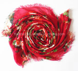 Het Rood van de manier bloeit Druk Dame Scarf in de Viscose van 100% (HWBVS053)