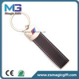 Regalo promocional de Keychain del precio del regalo del cuero barato del metal