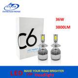 36W 3800lm 옥수수 속은 H7 H11 H1 H3 H4 9005를 9006 C6 LED 헤드라이트 6000K 잘게 썬다