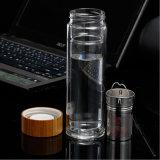 Bambuskappe! Doppel-wandiger Tee Infuser Glaswasser-Flasche (DC-KS400)