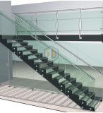 Erstaunliche Edelstahl-Treppe mit hölzernen Jobstepp-/gerade Treppenhaus-Herstellern