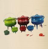 3足の#2、#3、#4、#5エナメル鋳鉄のPotjieの鍋か大がま