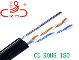 Cable del audio del conector de cable de la comunicación de cable de datos del cable del cable/del ordenador de teléfono del mensajero del alambre de gota 1pair24AWG 1.2steelwire