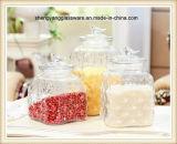 Container van het Glas van de Stijl van de Rang van het voedsel 3PCS de Verschillende met het Deksel van het Glas