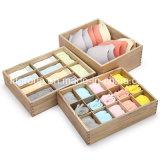 Низкая цена естественный цвет прозрачное окно представления деревянные ящики с делителями