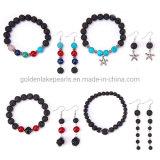 Mode bijoux Set roche de lave perles de pierres précieuses Boucles d'oreilles Bracelets pour les femmes Don
