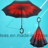 Parapluie inversé renversé droit mains libres portatif de doubles écrans