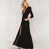女性Black Deep V Multi-Layer肩の長い袖のイブニング・ドレス