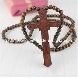 Bueno negro de la cruz de madera collares para los hombres/ Abalorios de madera redondo 8mm 10mm 12mm 20mm Colgante Cruz de Jesús (PN-037)