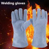 Handschoenen van het Lassen van het Leer van de Koe van de Levering 12inch van Guangzhou de Grijze