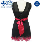 Womens Laces V-Neck Dress with Contrast Waist Band