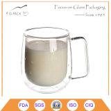 Cristal 200 ml de tazas de té con mango de vidrio de impresión
