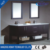 Module personnalisé par hôtel américain de vanité de salle de bains de double bassin en bois solide de type