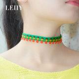 De gele Rode Halsband van de Nauwsluitende halsketting van het Patroon van het Meisje van de Leeswijzer Groene Met de hand gemaakte