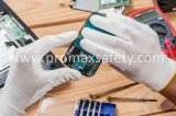 Grijze Polyester Gebreide Vrije Handschoenen DMF met de Grijze Deklaag van Pu