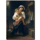 Оптовая картина маслом украшения высокого качества, домашняя картина украшения, картина искусствоа (молодая мать Gazing на ее ребенке)