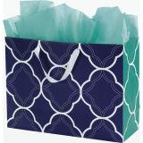 Green Gingham Printed Shoppers saco de compras de papel Kraft colorido saco de papel personalizado