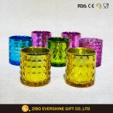 多彩な浮彫りにされたガラス蝋燭ホールダー
