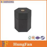 Caixa de presente de empacotamento do armazenamento cosmético preto do hexágono do perfume do chá de Artpaper