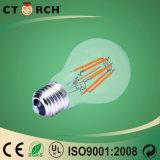 Luz de bulbo de cristal del filamento E27 LED de Ctorch 6W 100lm/W