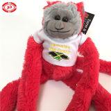 En rouge et vert de la Jamaïque moelleux farcies de singe mignon jouet en peluche