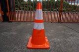 Cone de borracha flexível do tráfego com as fitas reflexivas alaranjadas
