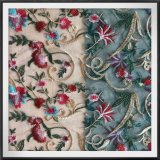 Cockscombの花の刺繍のレースのナイロン網の刺繍のレース
