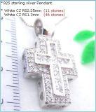方法設計立方ジルコニア925の純銀製のペンダント(P3113)