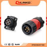 Entre em contato com o fio Gold-Plated Cnlinko 4 pinos do conector de energia IP subaquático65/IP67 Conector do cabo de solda para equipamento de LED