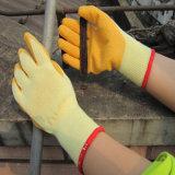 T/Cのシェルの乳液のやしによって塗られる手袋の安全作業手袋中国
