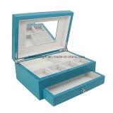 Caixa de armazenamento de caixa de jóias com acabamento de alto brilho azul alto