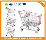 Chariot européen et asiatique du litre 60-210 le plus favorable en métal de supermarché à achats de chariot avec la portée de bébé