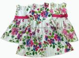 Vestido de algodão de menina / vestido de menina de flor / roupas para crianças / roupas para crianças