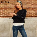 1개의 스웨트 셔츠 가을 여자 스웨트 셔츠 검정 긴 소매 우아한 스웨터에서 2개를 구슬로 장식하는 스웨트 셔츠 여자 진주