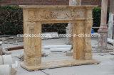 Старинными каменными травертина стороны резьба для использования внутри помещений мраморный камин (Си-MF244)