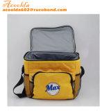 Gelber quadratischer Kühlvorrichtung-Beutel mit vorderer Tasche und seitlicher Nettotasche zwei