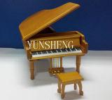 Grand Piano naturel artisanal en bois avec boîte à musique en forme de cube (LP-31)